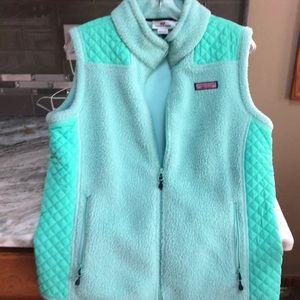 Vineyard Vines Green Fleece Zip Vest Size M woman